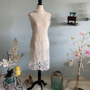 Floral white Lace Mini Dress